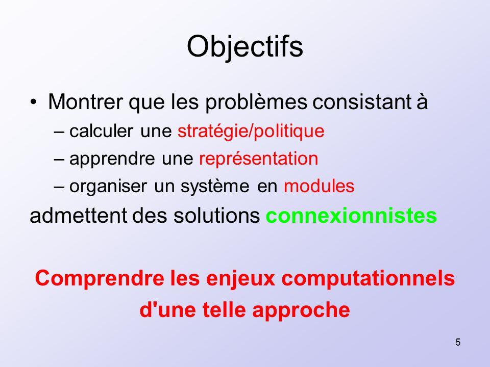 5 Objectifs Montrer que les problèmes consistant à –calculer une stratégie/politique –apprendre une représentation –organiser un système en modules ad