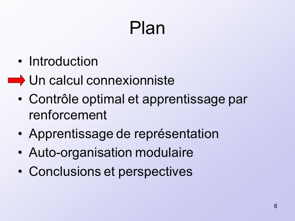 6 Plan Introduction Un calcul connexionniste Contrôle optimal et apprentissage par renforcement Apprentissage de représentation Auto-organisation modu