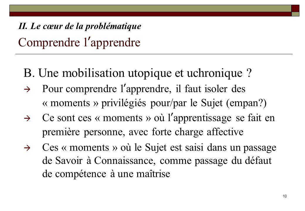 10 Comprendre lapprendre B. Une mobilisation utopique et uchronique ? Pour comprendre lapprendre, il faut isoler des « moments » privilégiés pour/par