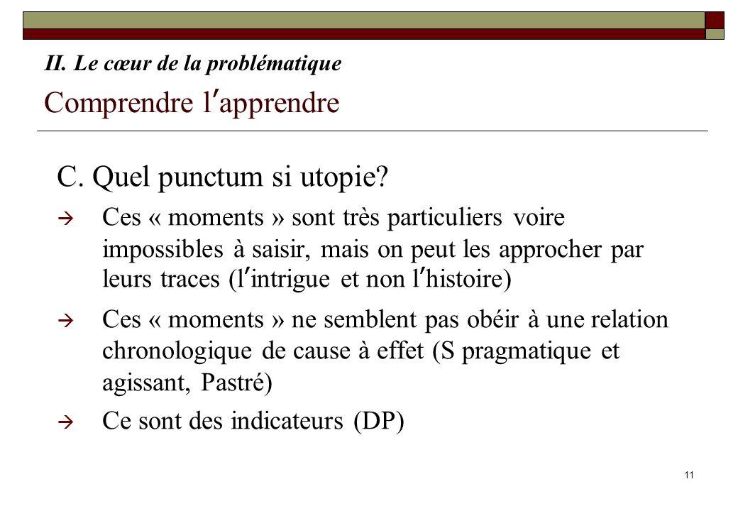 11 Comprendre lapprendre C. Quel punctum si utopie? Ces « moments » sont très particuliers voire impossibles à saisir, mais on peut les approcher par