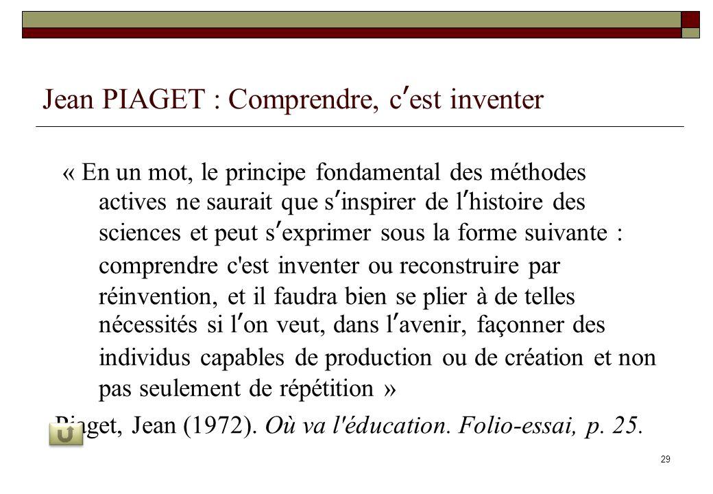 29 Jean PIAGET : Comprendre, cest inventer « En un mot, le principe fondamental des méthodes actives ne saurait que sinspirer de lhistoire des science