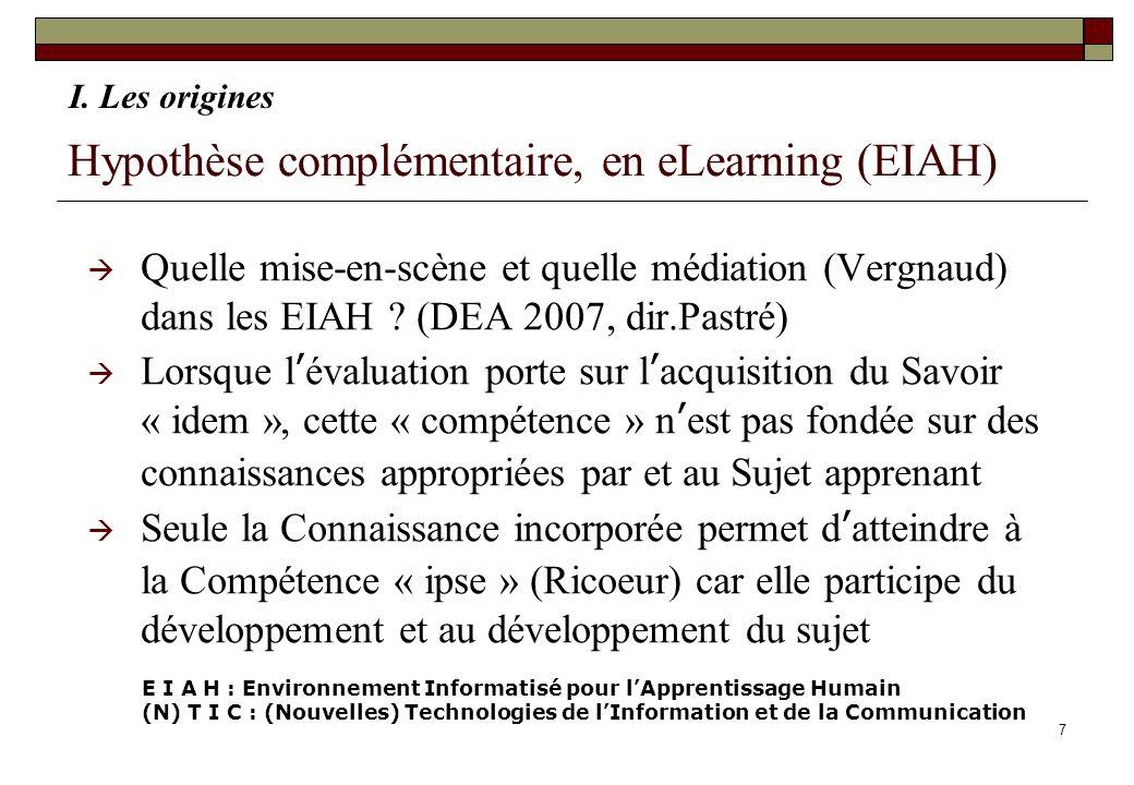 7 Hypothèse complémentaire, en eLearning (EIAH) Quelle mise-en-scène et quelle médiation (Vergnaud) dans les EIAH ? (DEA 2007, dir.Pastré) Lorsque lév