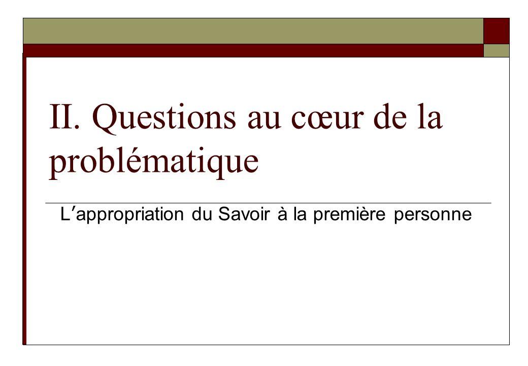 II. Questions au cœur de la problématique Lappropriation du Savoir à la première personne