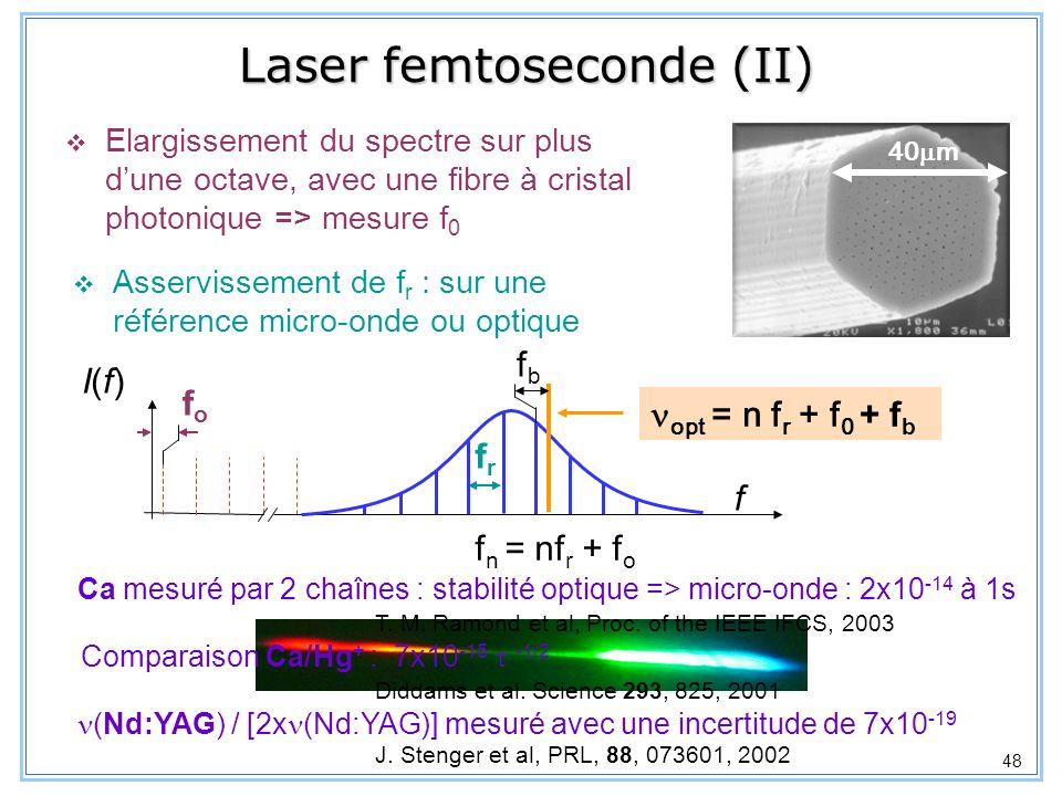 48 Laser femtoseconde (II) Asservissement de f r : sur une référence micro-onde ou optique 40 m f fofo frfr f n = nf r + f o fbfb opt = n f r + f 0 +
