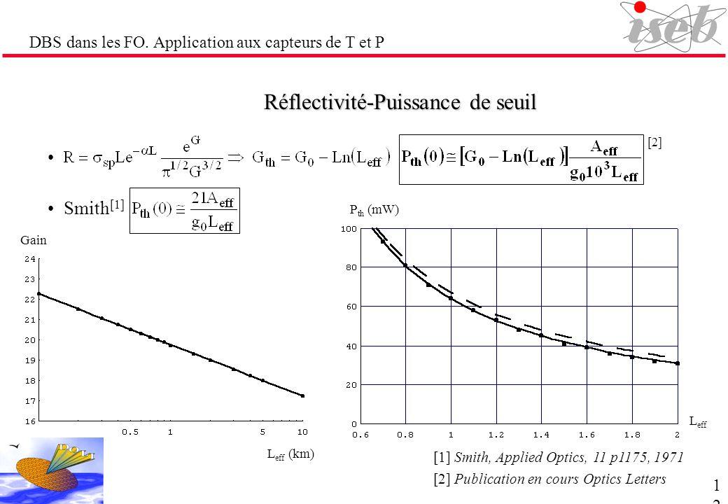 DBS dans les FO. Application aux capteurs de T et P Réflectivité-Puissance de seuil Smith [1] [1] Smith, Applied Optics, 11 p1175, 1971 Gain L eff (km