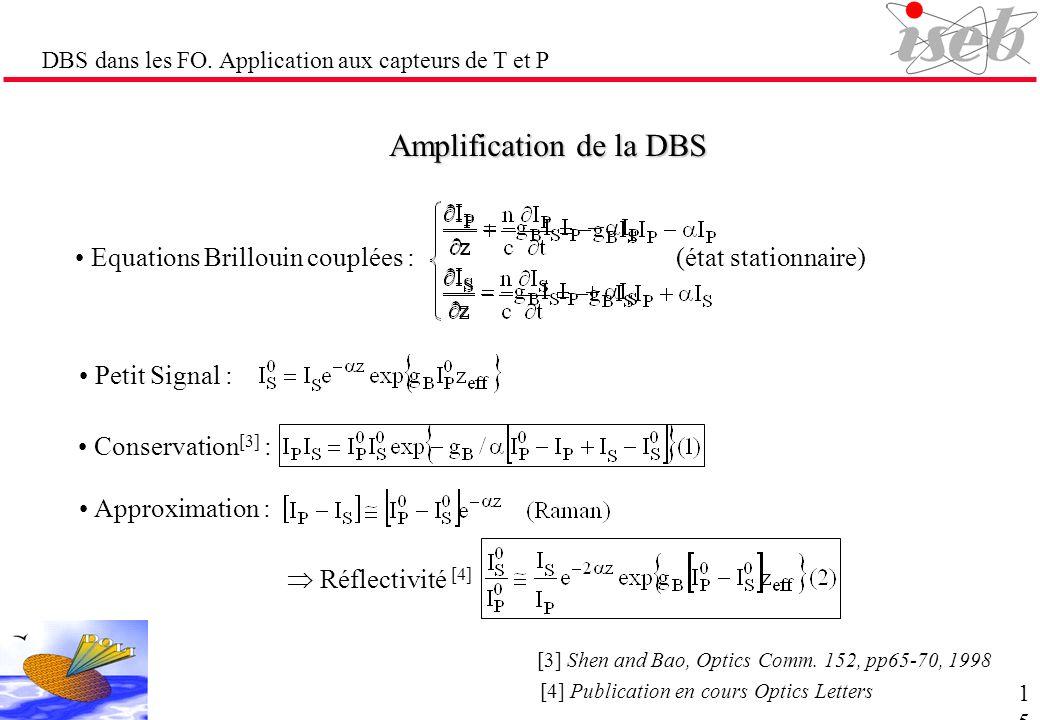 DBS dans les FO. Application aux capteurs de T et P Amplification de la DBS (état stationnaire) Equations Brillouin couplées : Petit Signal : Conserva