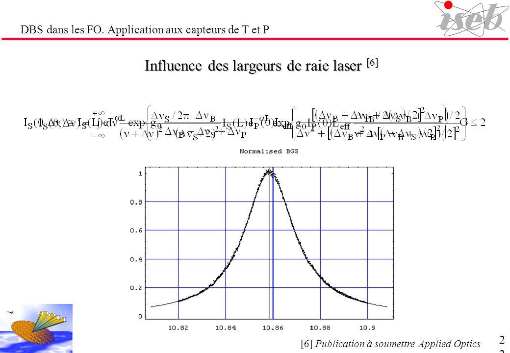 DBS dans les FO. Application aux capteurs de T et P Influence des largeurs de raie laser [6] signal sonde de la largeur à mi- hauteur S exp{g B (, P )