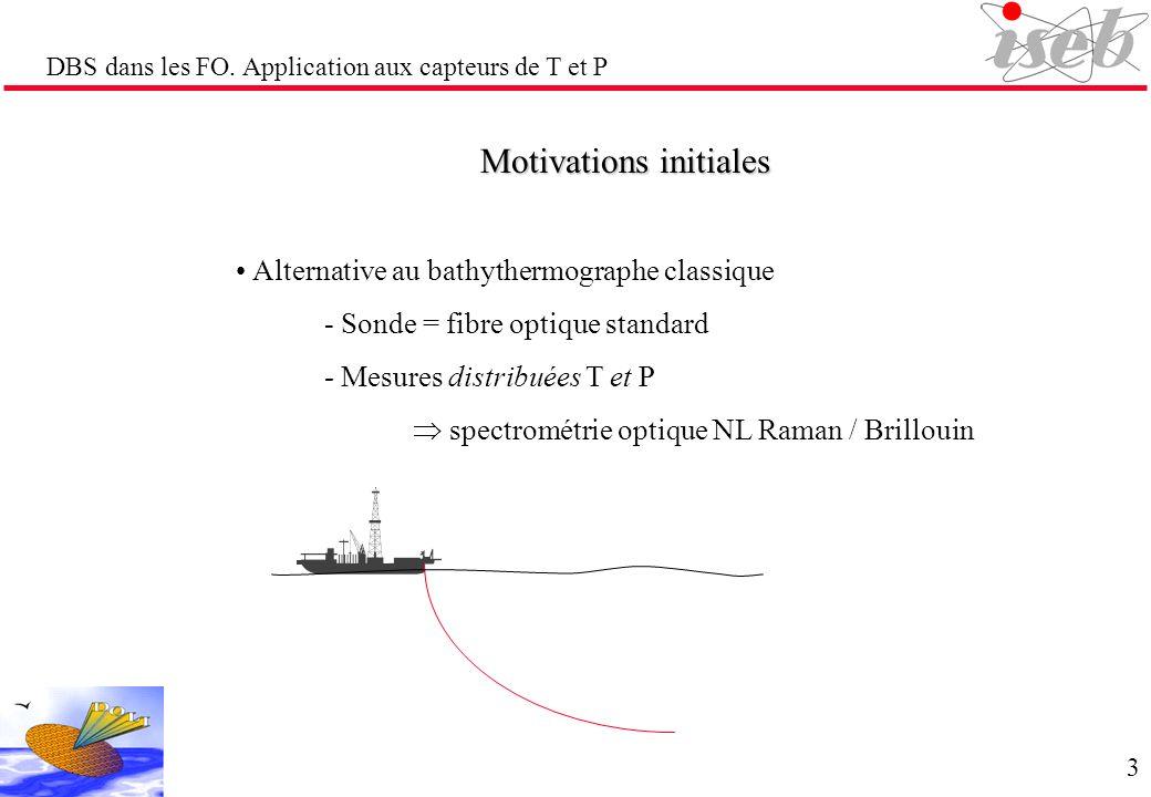 DBS dans les FO. Application aux capteurs de T et P Motivations initiales Alternative au bathythermographe classique - Sonde = fibre optique standard