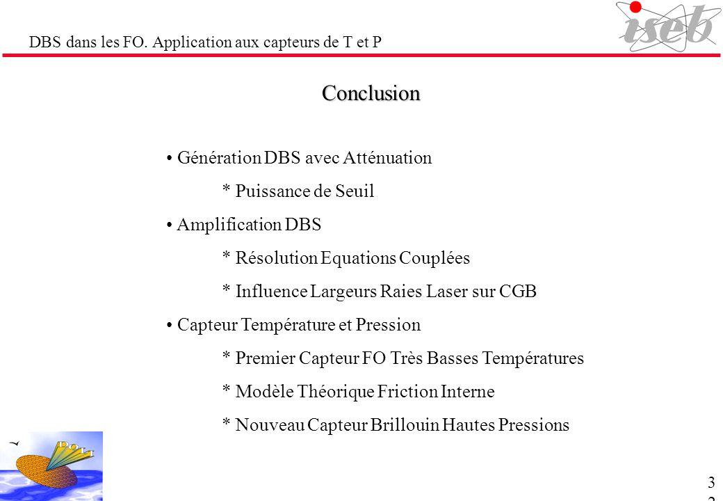 DBS dans les FO. Application aux capteurs de T et P Conclusion Génération DBS avec Atténuation * Puissance de Seuil Amplification DBS * Résolution Equ
