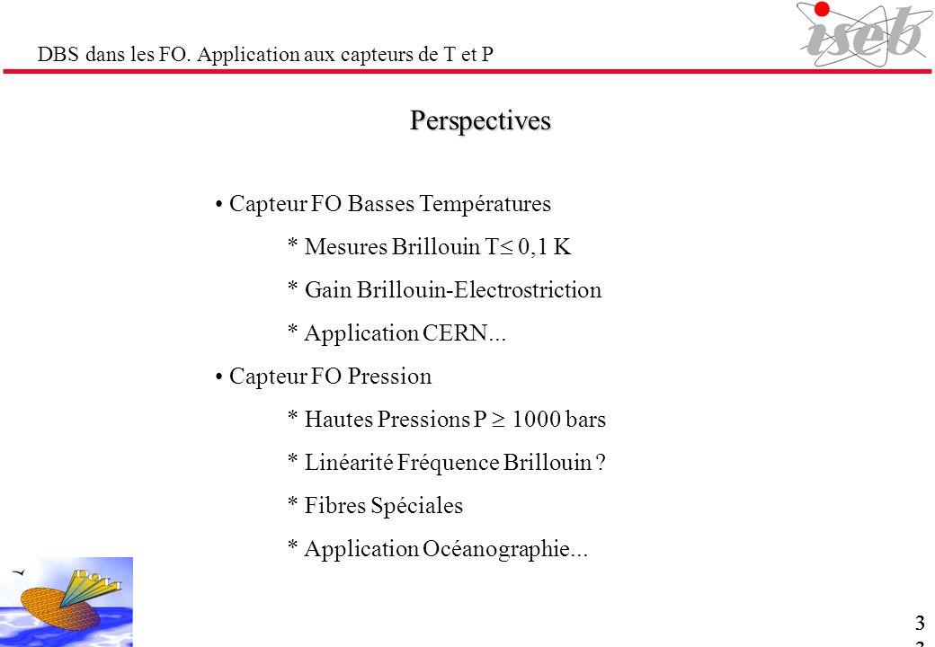 DBS dans les FO. Application aux capteurs de T et P Perspectives Capteur FO Basses Températures * Mesures Brillouin T 0,1 K * Gain Brillouin-Electrost