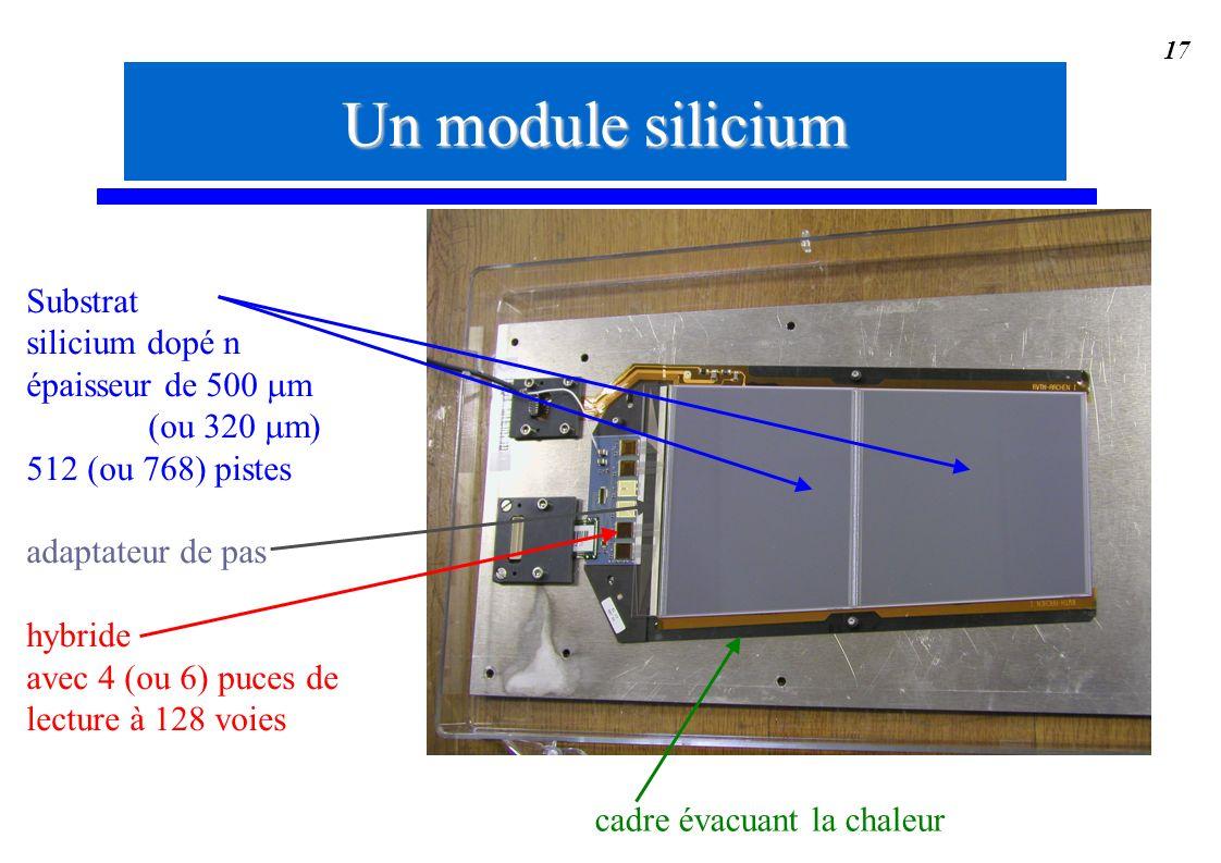 17 Substrat silicium dopé n épaisseur de 500 m (ou 320 m) 512 (ou 768) pistes adaptateur de pas hybride avec 4 (ou 6) puces de lecture à 128 voies Un