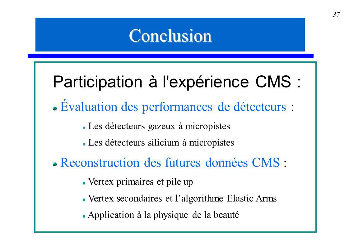 37 Participation à l'expérience CMS : Évaluation des performances de détecteurs : Les détecteurs gazeux à micropistes Les détecteurs silicium à microp