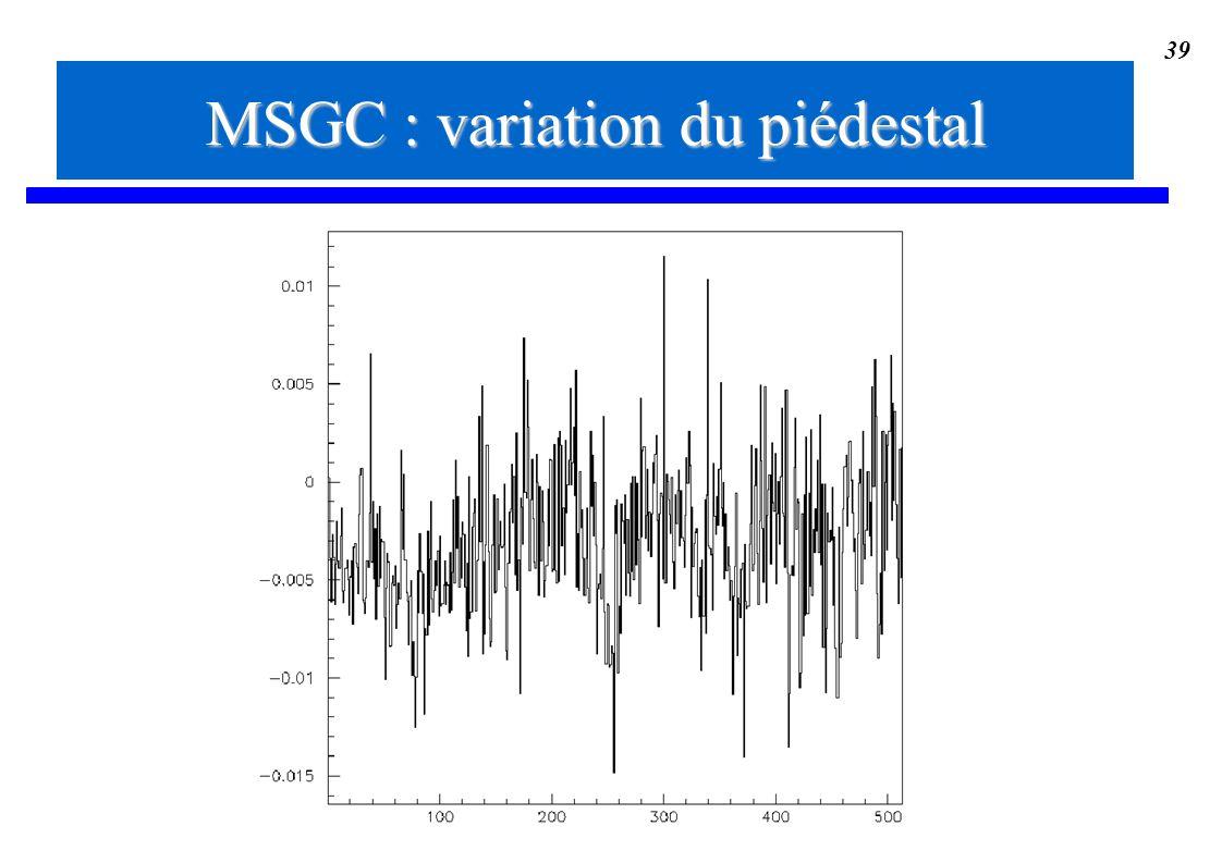 39 MSGC : variation du piédestal