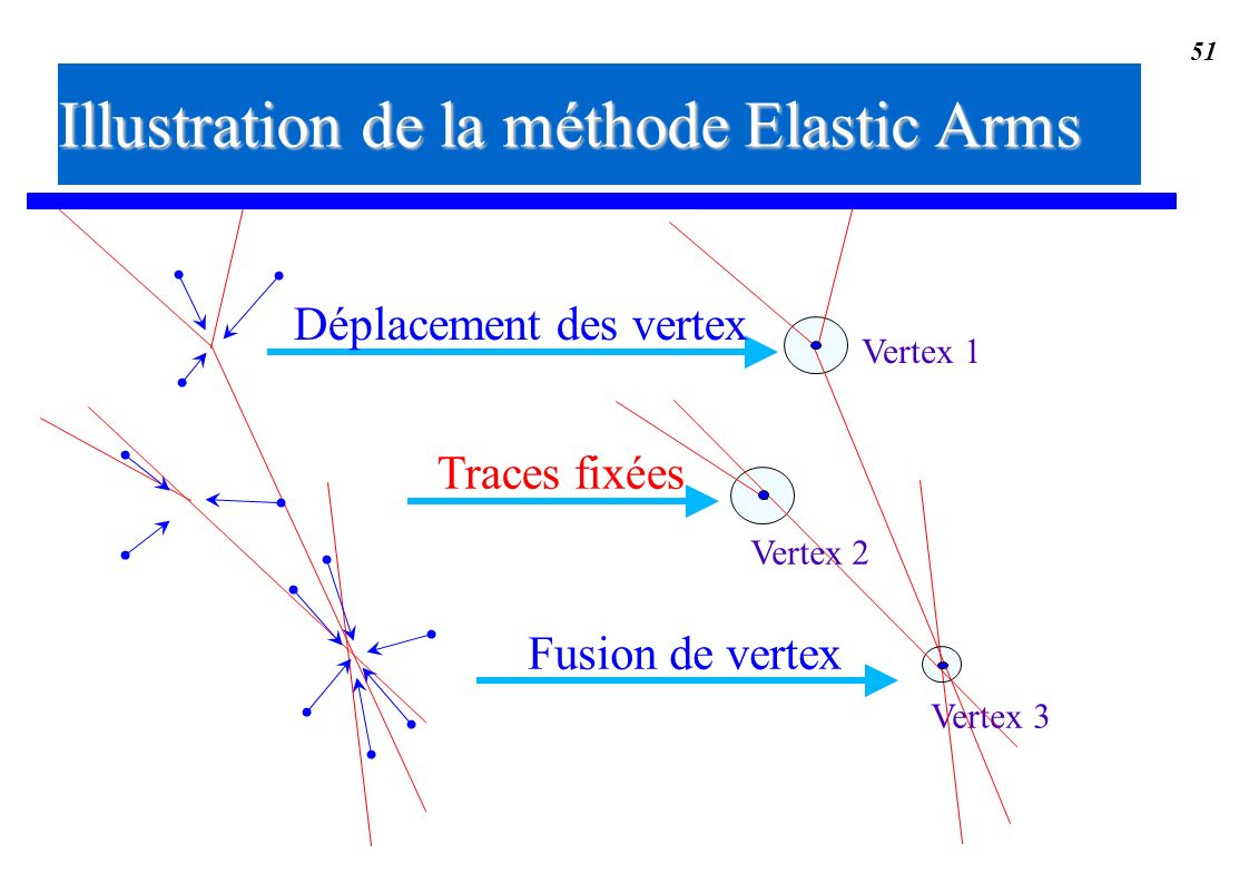 51 Vertex 3 Vertex 1 Fusion de vertex Vertex 2 Traces fixées Déplacement des vertex Illustration de la méthode Elastic Arms