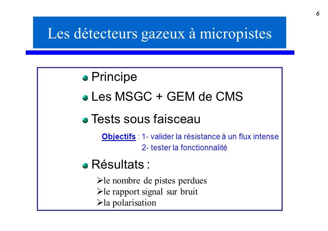 6 Les détecteurs gazeux à micropistes Principe Les MSGC + GEM de CMS Tests sous faisceau Objectifs : 1- valider la résistance à un flux intense 2- tes