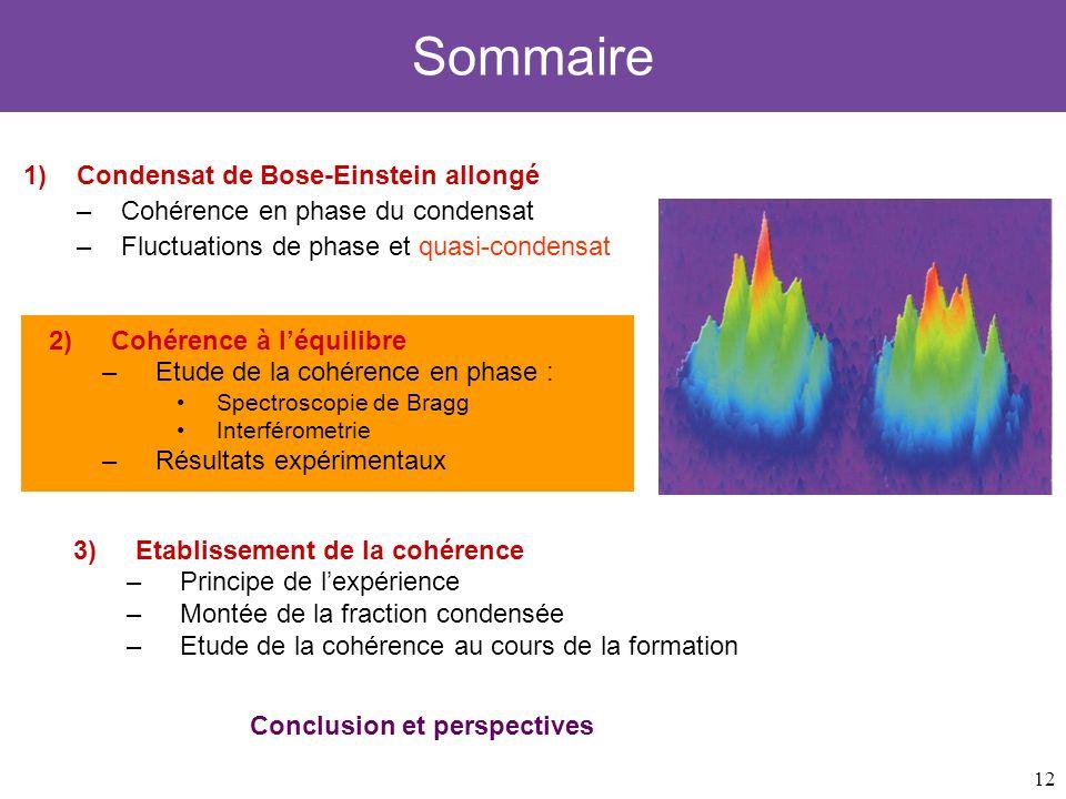 12 Sommaire 1)Condensat de Bose-Einstein allongé –Cohérence en phase du condensat –Fluctuations de phase et quasi-condensat 3)Etablissement de la cohé