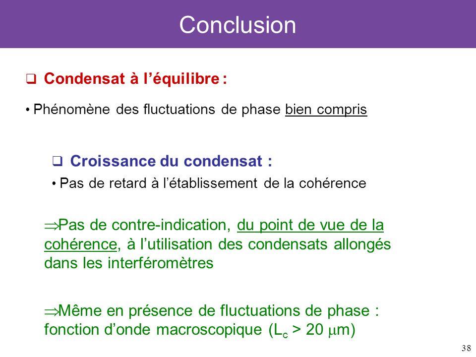 38 Conclusion Condensat à léquilibre : Phénomène des fluctuations de phase bien compris Croissance du condensat : Pas de retard à létablissement de la