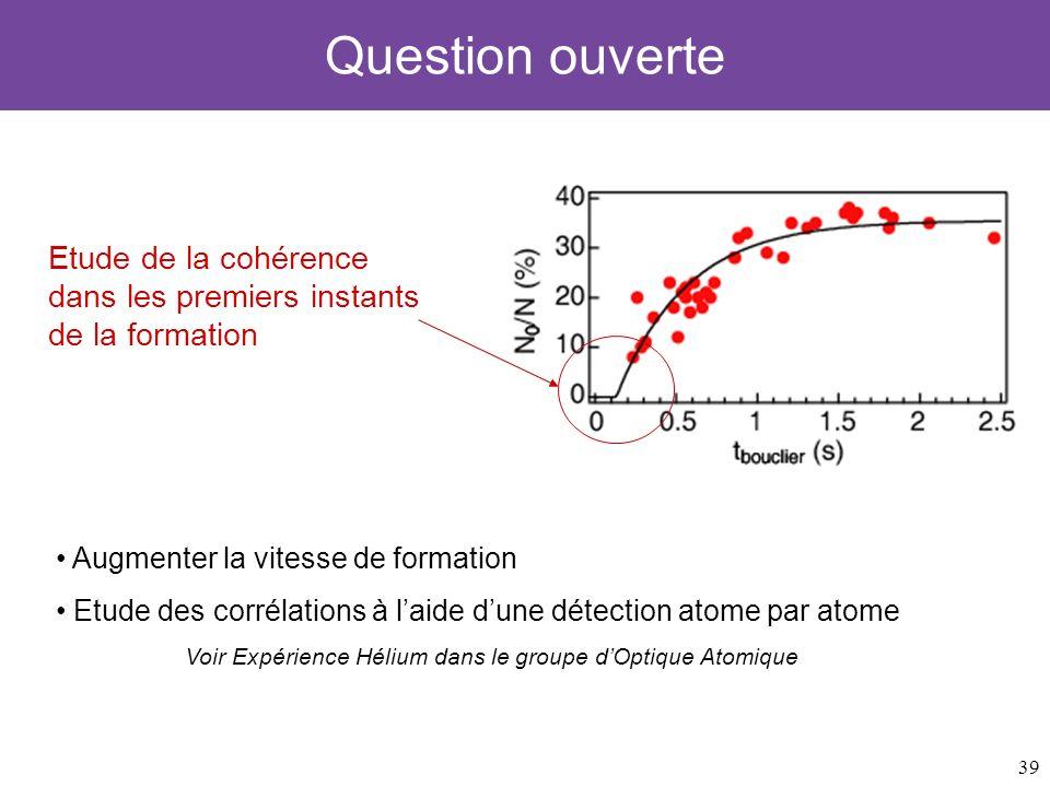39 Question ouverte Etude de la cohérence dans les premiers instants de la formation Augmenter la vitesse de formation Etude des corrélations à laide