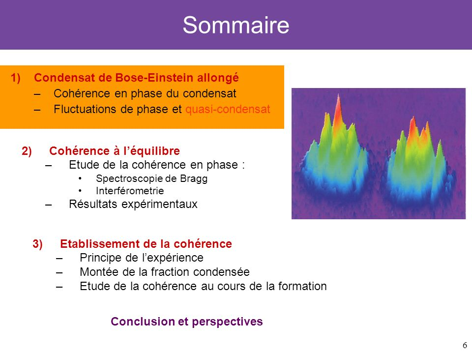 6 Sommaire 1)Condensat de Bose-Einstein allongé –Cohérence en phase du condensat –Fluctuations de phase et quasi-condensat 3)Etablissement de la cohér