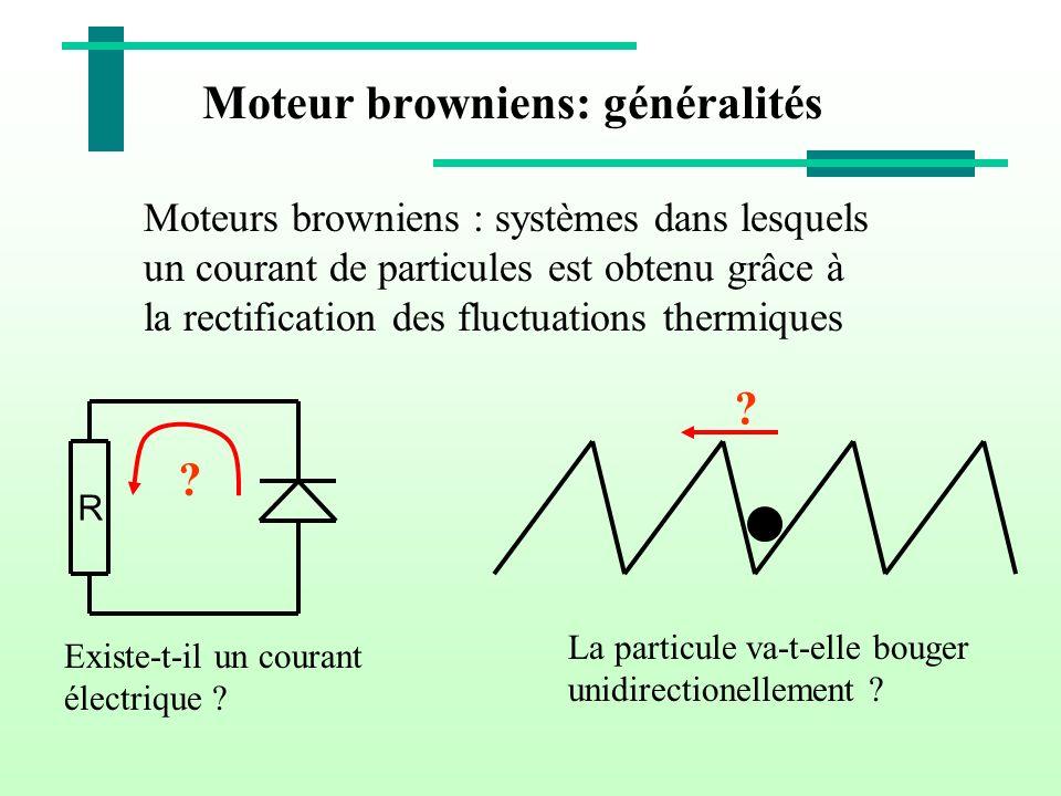 Moteur browniens: généralités Moteurs browniens : systèmes dans lesquels un courant de particules est obtenu grâce à la rectification des fluctuations