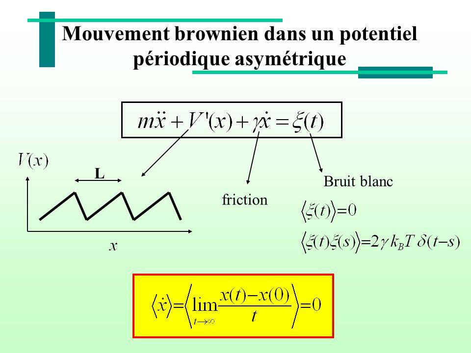 Mouvement brownien dans un potentiel périodique asymétrique L friction Bruit blanc