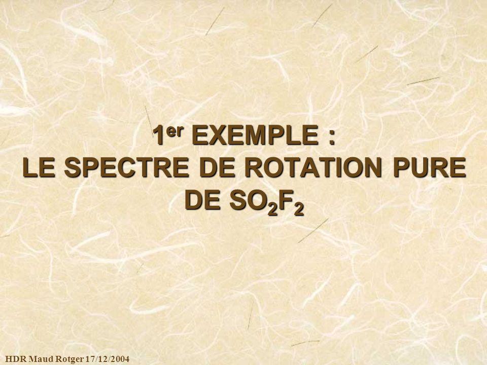 HDR Maud Rotger 17/12/2004 1 er EXEMPLE : LE SPECTRE DE ROTATION PURE DE SO 2 F 2