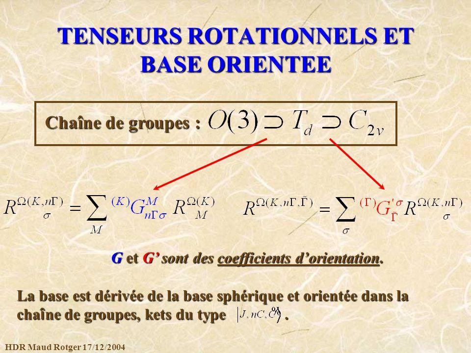 HDR Maud Rotger 17/12/2004 TENSEURS ROTATIONNELS ET BASE ORIENTEE Chaîne de groupes : GetG sont des coefficients dorientation. G et G sont des coeffic