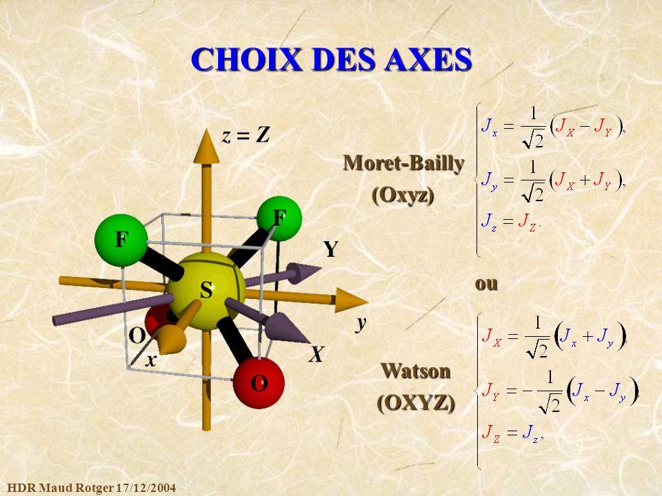 HDR Maud Rotger 17/12/2004 CHOIX DES AXES ou Watson(OXYZ) Moret-Bailly(Oxyz)