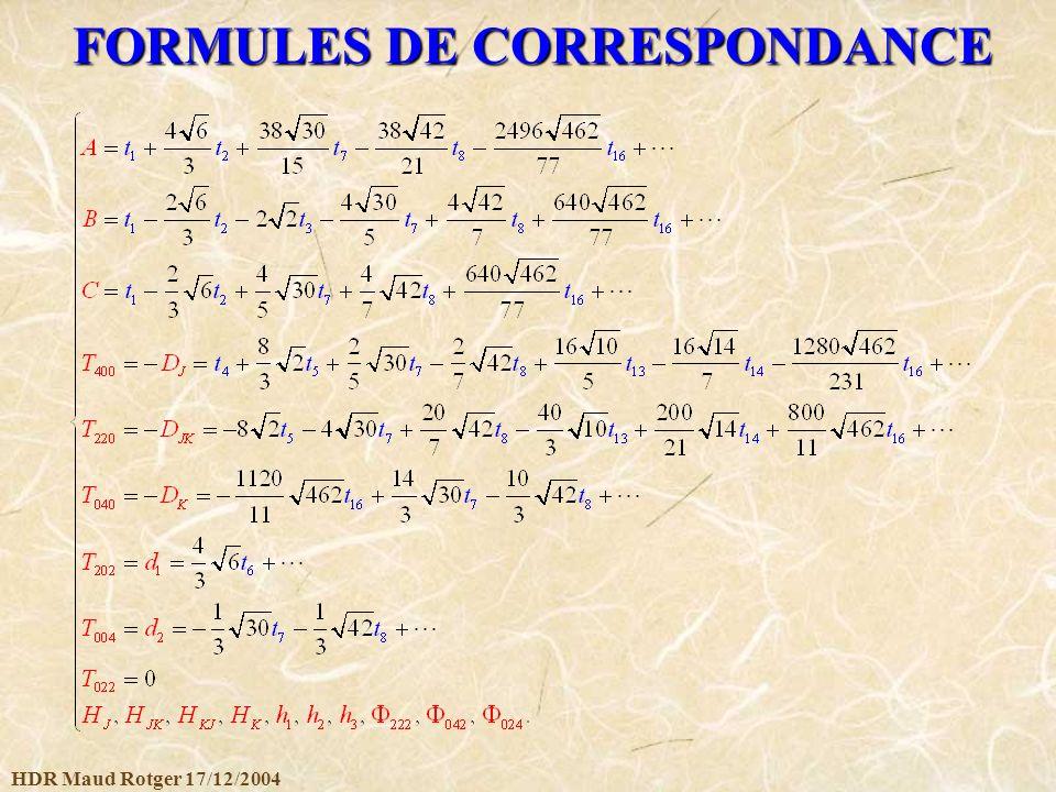 HDR Maud Rotger 17/12/2004 FORMULES DE CORRESPONDANCE