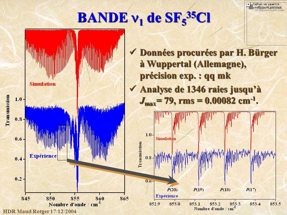 HDR Maud Rotger 17/12/2004 BANDE 1 de SF 5 35 Cl Données procurées par H. Bürger à Wuppertal (Allemagne), précision exp. : qq mk Données procurées par