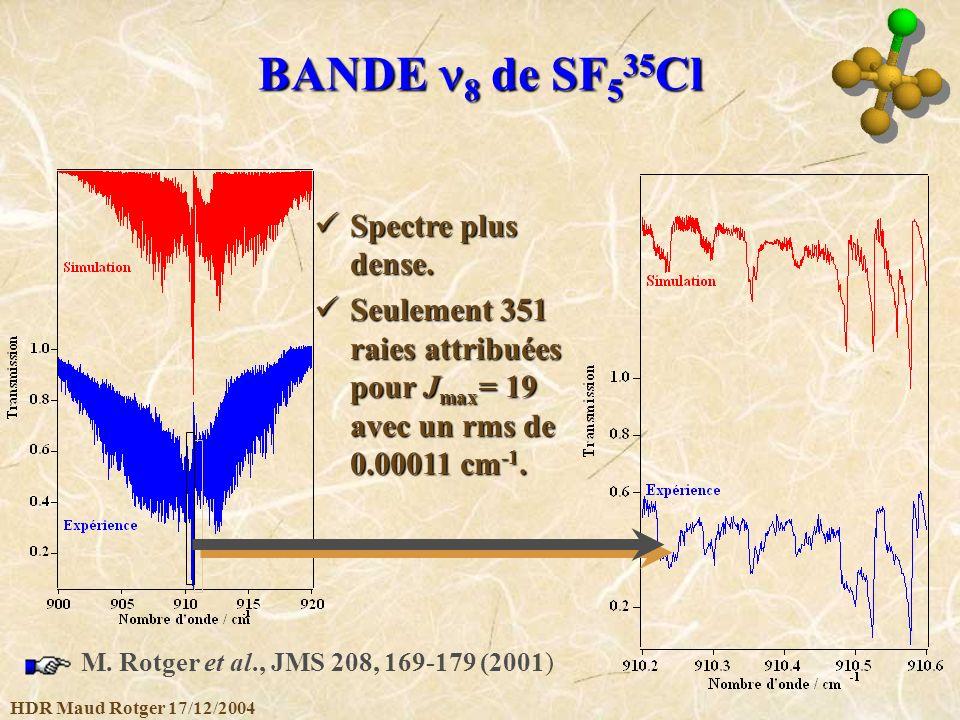 HDR Maud Rotger 17/12/2004 BANDE 8 de SF 5 35 Cl Spectre plus dense. Spectre plus dense. Seulement 351 raies attribuées pour J max = 19 avec un rms de