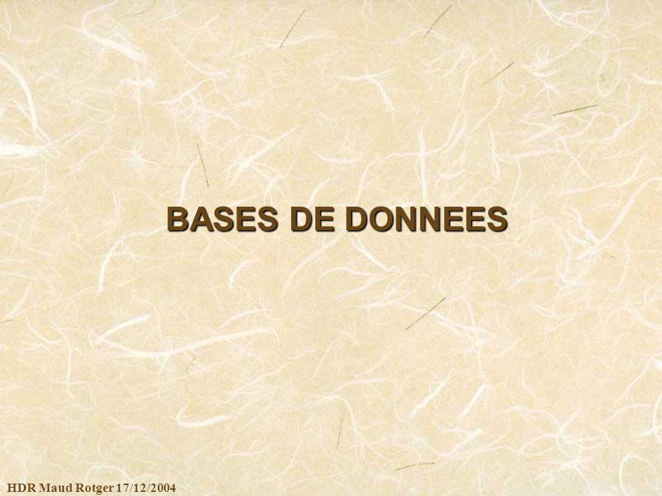 HDR Maud Rotger 17/12/2004 BASES DE DONNEES