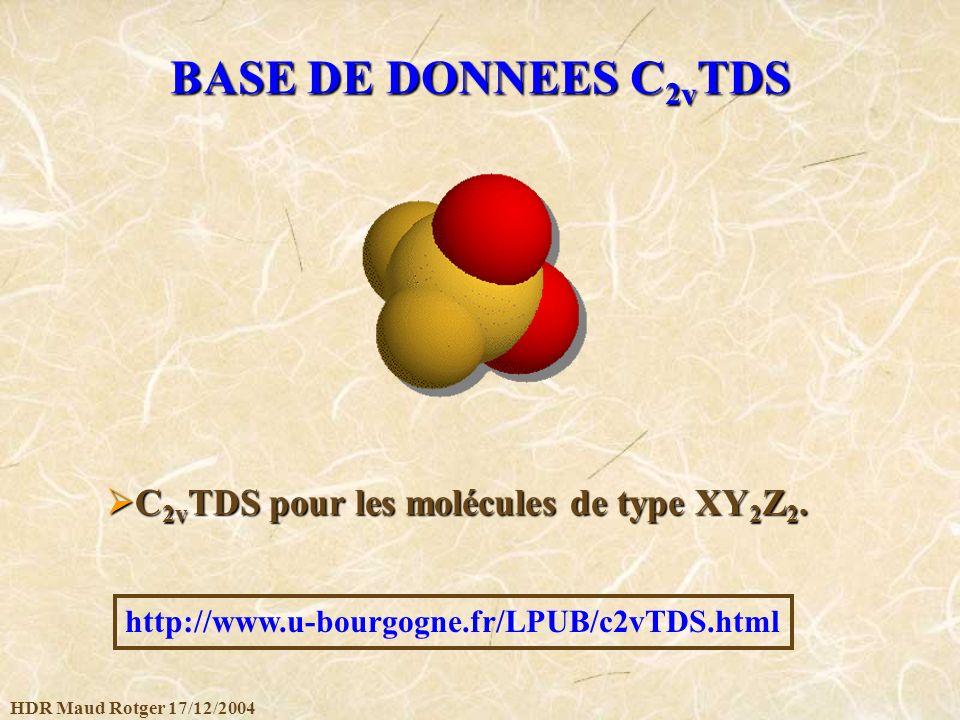 HDR Maud Rotger 17/12/2004 BASE DE DONNEES C 2v TDS http://www.u-bourgogne.fr/LPUB/c2vTDS.html C 2v TDS pour les molécules de type XY 2 Z 2. C 2v TDS