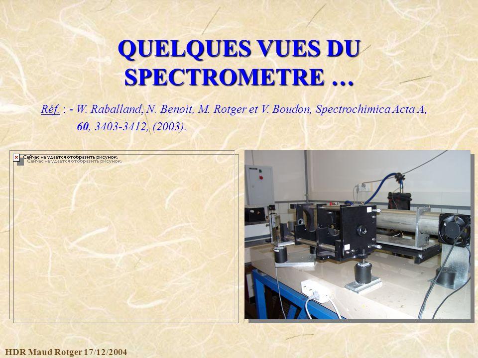 HDR Maud Rotger 17/12/2004 QUELQUES VUES DU SPECTROMETRE … Réf. : - W. Raballand, N. Benoit, M. Rotger et V. Boudon, Spectrochimica Acta A, 60, 3403-3