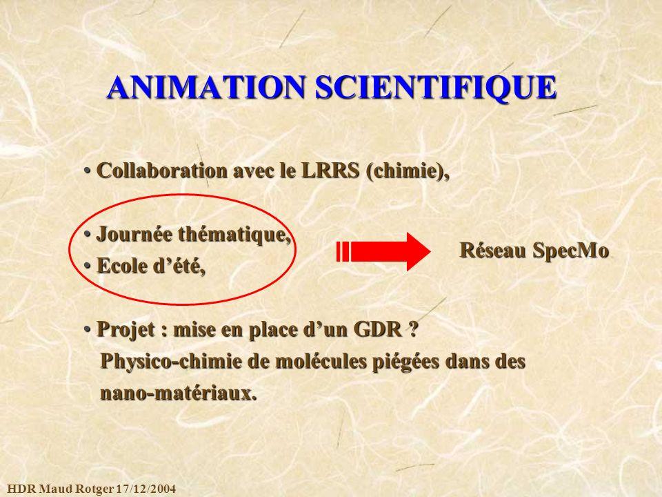 HDR Maud Rotger 17/12/2004 ANIMATION SCIENTIFIQUE Collaboration avec le LRRS (chimie), Collaboration avec le LRRS (chimie), Journée thématique, Journé
