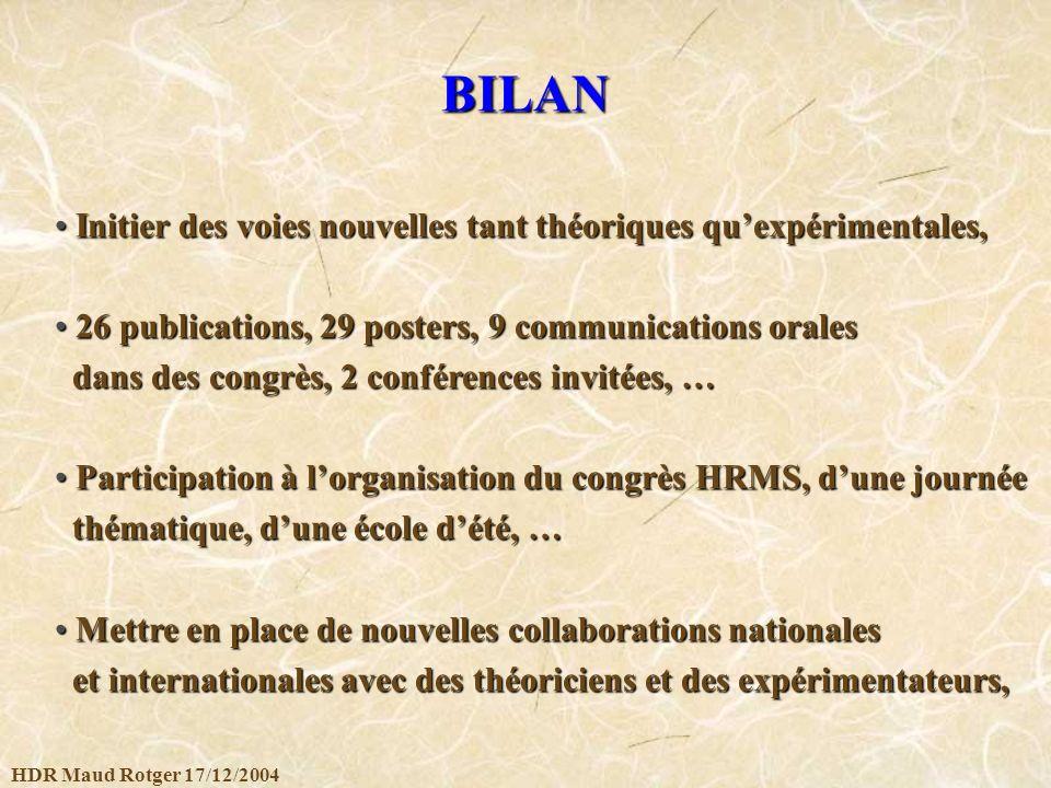 HDR Maud Rotger 17/12/2004 BILAN Initier des voies nouvelles tant théoriques quexpérimentales, Initier des voies nouvelles tant théoriques quexpérimen