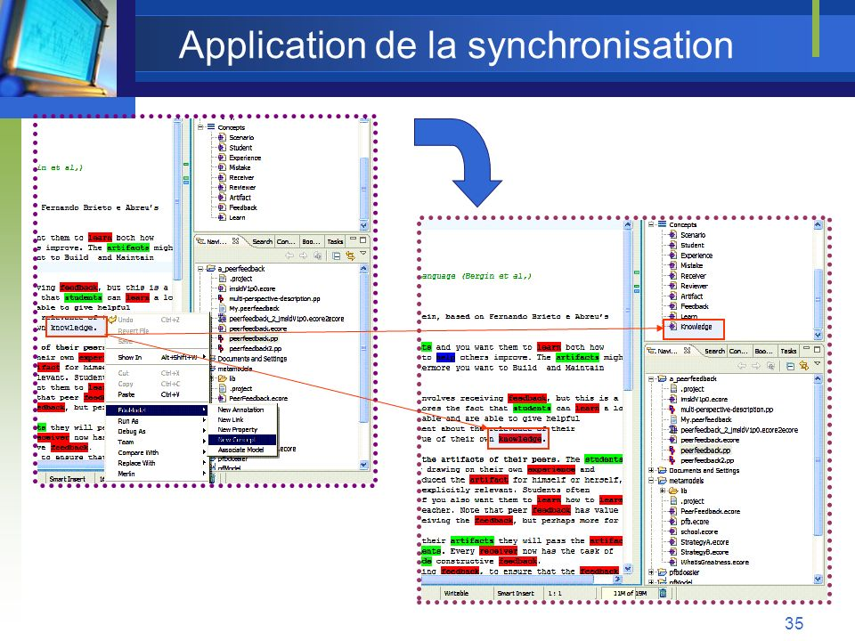 35 Application de la synchronisation