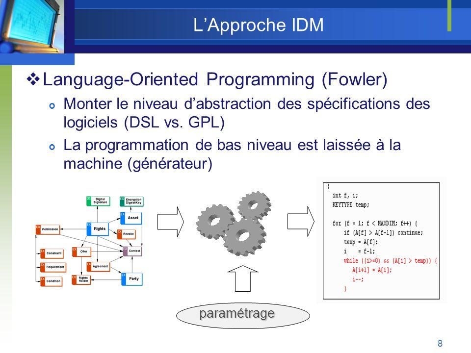 19 Multi-EML: Adaptant lIDM aux EIAH 1.Commencer la création dun scénario par une spécification informelle Patrons Pédagogiques (PP) 2.Capturer un EML à partir dune spécification informelle 3.Garder côte à côte et en coïncidence les différentes formes de spécification dun scénario (spécifications informelles, EMLs et code généré) 4.Simplifier: le processus de création de nouveaux EMLs le processus de génération de code pour des différentes plates-formes