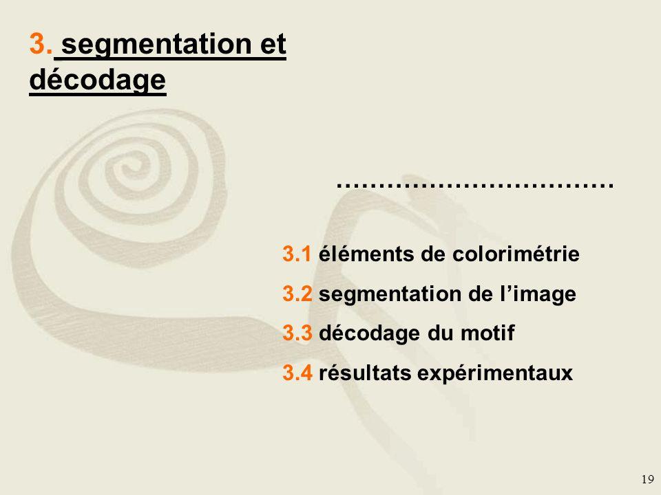19 3. segmentation et décodage …………………………… 3.1 éléments de colorimétrie 3.2 segmentation de limage 3.3 décodage du motif 3.4 résultats expérimentaux