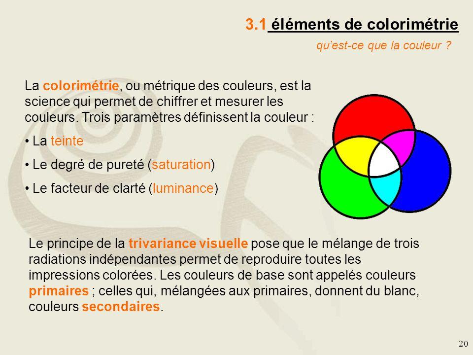 20 3.1 éléments de colorimétrie La colorimétrie, ou métrique des couleurs, est la science qui permet de chiffrer et mesurer les couleurs. Trois paramè