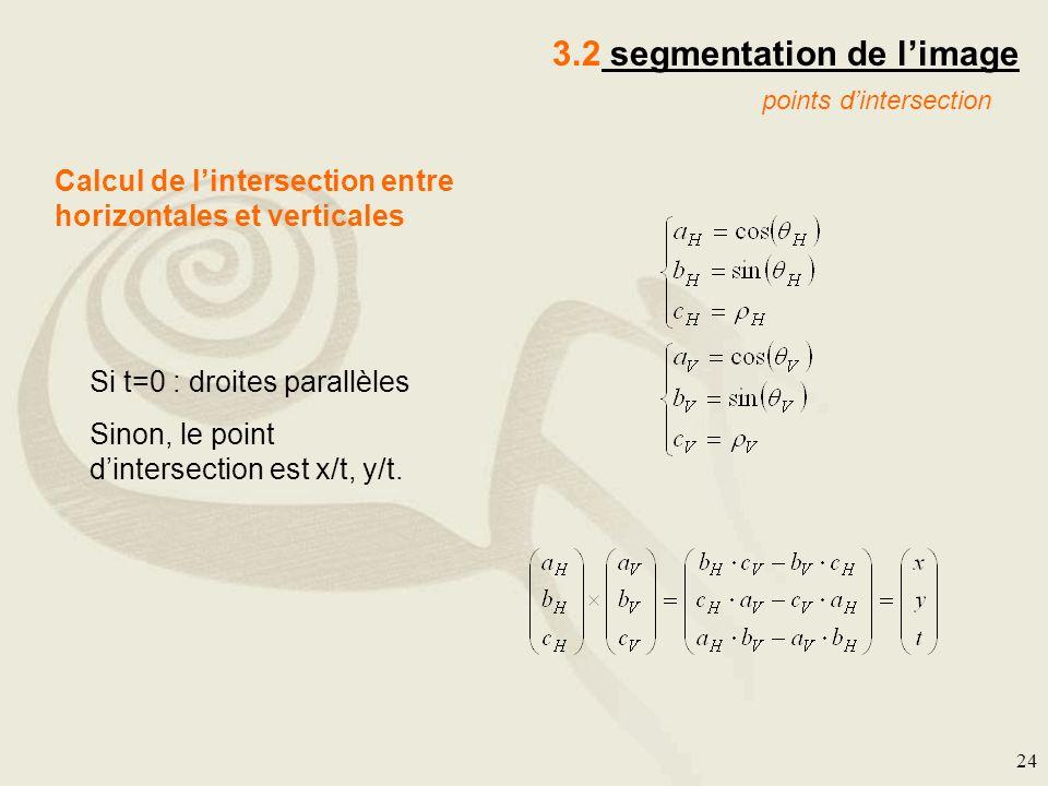 24 3.2 segmentation de limage points dintersection Calcul de lintersection entre horizontales et verticales Si t=0 : droites parallèles Sinon, le poin