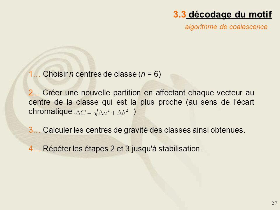27 3.3 décodage du motif algorithme de coalescence 1… Choisir n centres de classe (n = 6) 2... Créer une nouvelle partition en affectant chaque vecteu