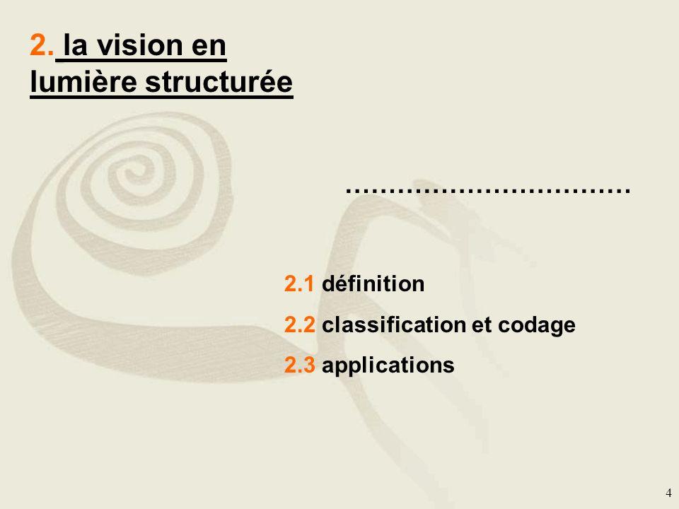 4 2. la vision en lumière structurée …………………………… 2.1 définition 2.2 classification et codage 2.3 applications
