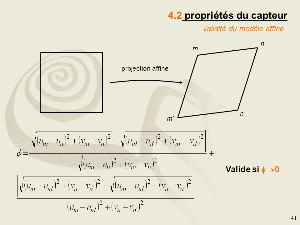 41 4.2 propriétés du capteur validité du modèle affine m n m' n' Valide si 0 projection affine