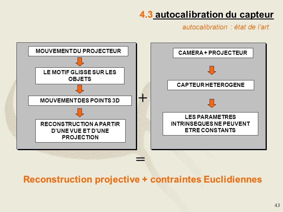 43 4.3 autocalibration du capteur autocalibration : état de lart + = MOUVEMENT DU PROJECTEUR MOUVEMENT DES POINTS 3D LE MOTIF GLISSE SUR LES OBJETS RE