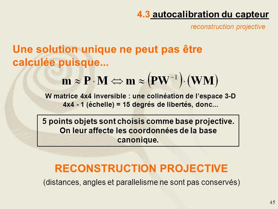 45 Une solution unique ne peut pas être calculée puisque... W matrice 4x4 inversible : une colinéation de lespace 3-D 4x4 - 1 (échelle) = 15 degrés de