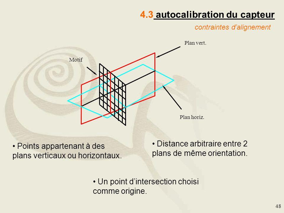 48 4.3 autocalibration du capteur contraintes dalignement Motif Plan vert. Plan horiz. Points appartenant à des plans verticaux ou horizontaux. Distan