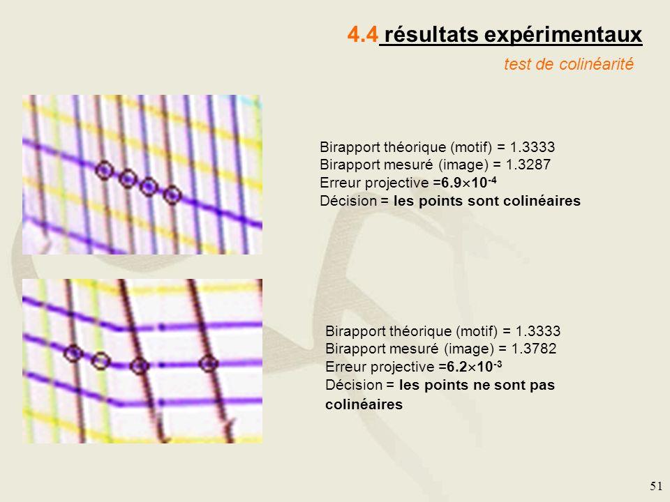 51 4.4 résultats expérimentaux test de colinéarité Birapport théorique (motif) = 1.3333 Birapport mesuré (image) = 1.3287 Erreur projective =6.9 10 -4
