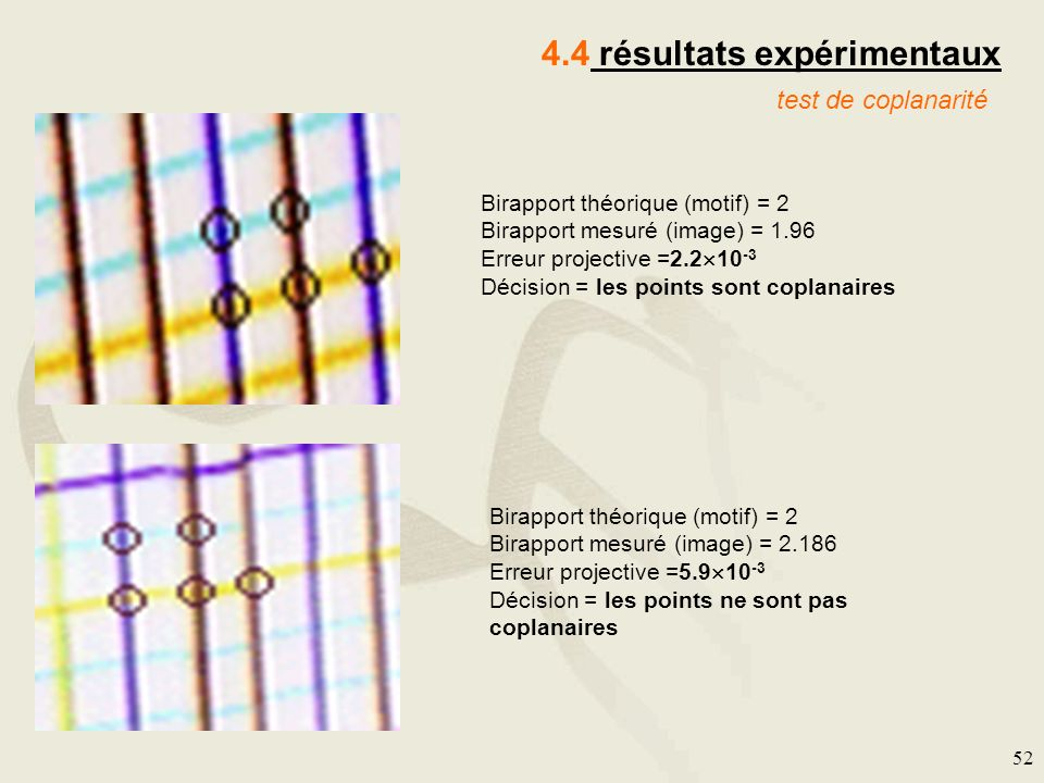 52 4.4 résultats expérimentaux test de coplanarité Birapport théorique (motif) = 2 Birapport mesuré (image) = 1.96 Erreur projective =2.2 10 -3 Décisi