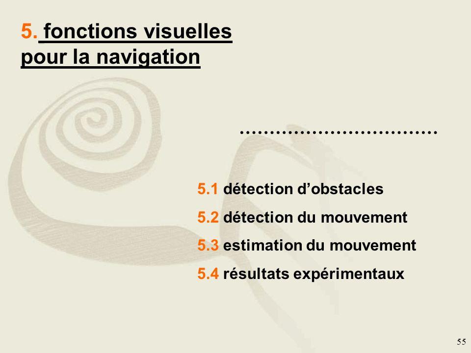 55 5. fonctions visuelles pour la navigation …………………………… 5.1 détection dobstacles 5.2 détection du mouvement 5.3 estimation du mouvement 5.4 résultats